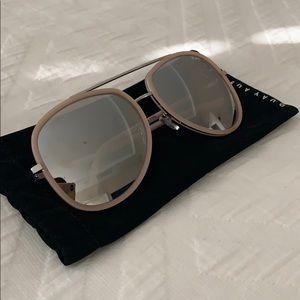 Quay pink framed aviator sunglasses